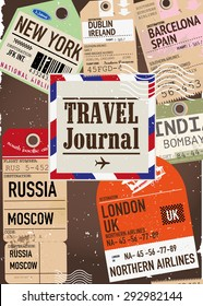 Travel journal with airline tickets.
