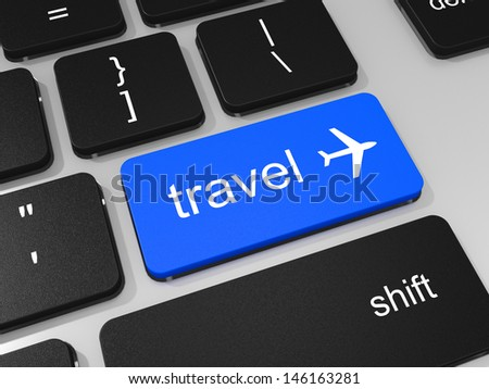 Travel key and airplane symbol on keyboard of laptop computer. 3D illustration.