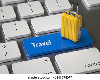 Travel key on the keyboard, 3d rendering,conceptual image.