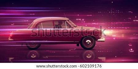 Travel From past to future on a retro red car. Time travel concept background. Car fast racing among fast moving particles and light stripes. futuristic abstract background. Side view. 3d rendering.