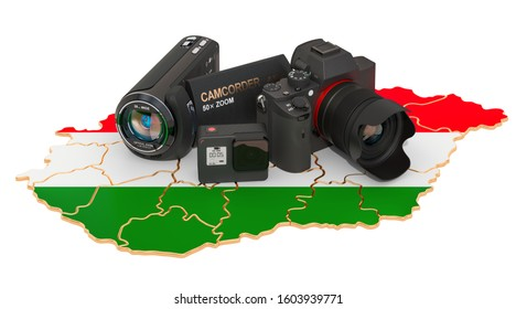 Travel and photo, video shooting in Hungary. Digital camera, camcorder and action camera on Hungarian map. 3D rendering isolated on white background