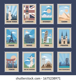 Travel postage stamps. Vintage stamp with national landmarks, retro stamping postmark world attractions and most popular points of world  isolated icon set. Travel postcards with famous places