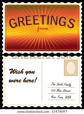 Travel Postcard Add Location Full Size Front And Back With Red