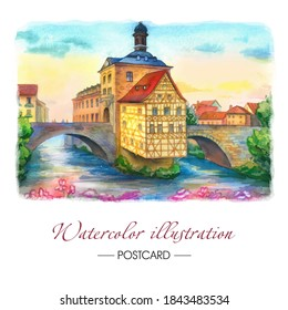 Travel postcard Bamberg Germany Europe. Watercolor drawing of a city with a river and a bridge. Hand-drawing background. Bavarian houses.