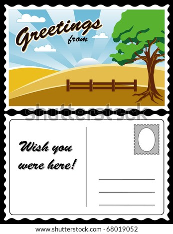 Travel Postcard Country Landscape Hills Fence Stock