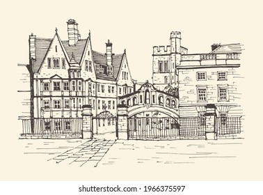 Travel sketch of London, Oxford, UK. Historical building line art. Freehand drawing. Hand drawn travel postcard in retro style. Travel sketch. Background colors craft paper. Hand drawing of Oxford.