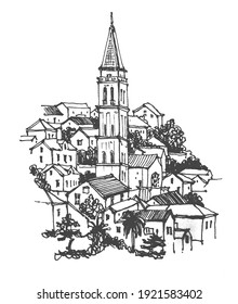 Travel sketch of Perast, Montenegro. Liner sketches architecture of Montenegro. Freehand drawing. Sketchy line art drawing. Architecture sketch illustration. Isolated on white background.