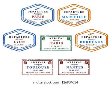 Travel stamps from France. Grungy stamps (not real). French destinations: Paris, Marseille, Lyon, Bordeaux, Toulouse and Nantes.