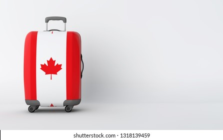 Travel suitcase with the flag of Canada. Holiday destination. 3D Render