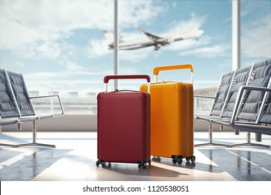 Travel suitcases at the airport with airplane on the background. 3d rendering