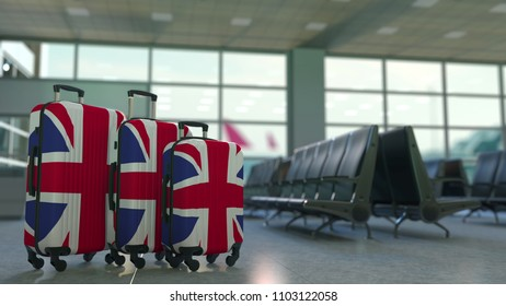 Travel suitcases featuring flag of Great Britain. British tourism conceptual 3D rendering