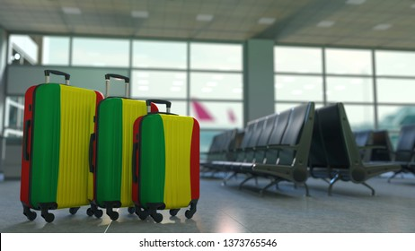 Travel suitcases with flag of Bolivia. Bolivian tourism conceptual 3D rendering