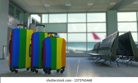 Travel suitcases with gay pride flag. LGBT tourism or immigration conceptual 3D rendering