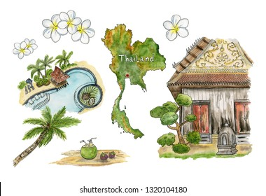 Travel to Thailand. Collection of sketches: palm trees, coconuts, pool, map, plumeria and the old temple. Watercolor illustrations.