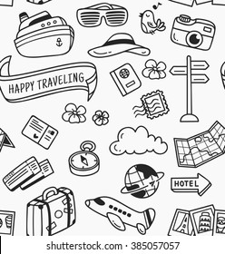 travel themed doodle seamless background