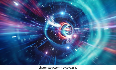Travel through a wormhole through time and space filled with millions of stars and nebulae. Wormhole space deformation, science fiction. Black hole. Vortex hyperspace tunnel. 3D illustration