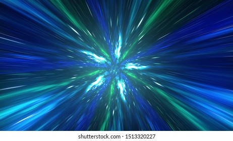 Travel through a wormhole through time and space filled with millions of stars and nebulae. 3d illustration.