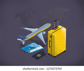 Travel and tourism background. Buying or booking online tickets. Travel, Business flights worldwide. Flat 3d isometric raster illustration
