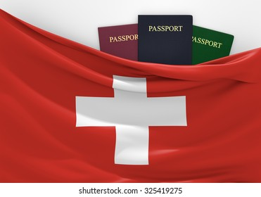 Travel and tourism in Switzerland, with assorted passports