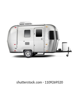Travel Trailer Isolated on White Background. Camping and Traveling Towed Recreational Vehicle. Side View of Stainless Steel Glamping Motorhome. Modern Caravan Car. 3D Rendering. Holiday Trip