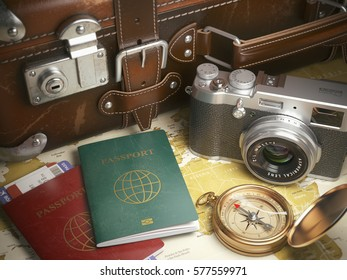 Travel or turism background concept.  Old  suitcase,  passports with boarding pass, vintage camera, campass on the  map. 3d illustration