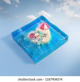 Travel and vacation background. 3d illustration with cut of the sea and beautiful heart island. Baby island isolated on white.