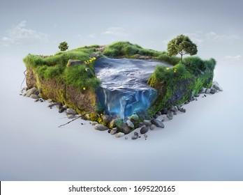 Arrière-plan voyage et vacances. Illustration 3d avec la coupe du sol et le paysage d'herbe avec la coupe de l'étang. Bébé nature isolé sur fond blanc.
