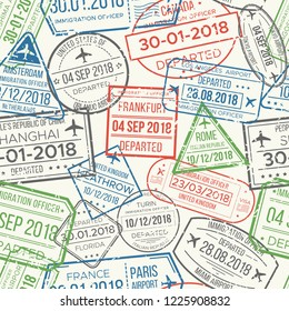 Travel visa airport stamps seamless pattern. Traveling document, vise to UK China France Canada or grunge passport rubber stamp colorful red green gray blue patterns  background collection