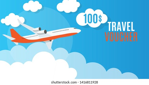 Travel Voucher 100 Dollar Template Background with Airplane.  Illustration
