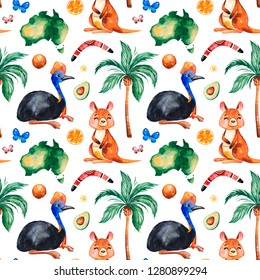Travel watercolor seamless pattern with Australian animals,fruits,butterflies,palm tree,boomerang and more. Perfect for wallpaper,print,packaging,invitations,packaging,cover design,travel texture.
