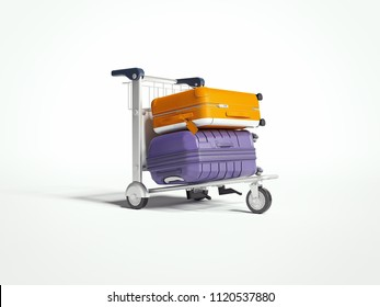 Travel yellow and violet suitcases isolated on white background on luggage trolley. 3d rendering