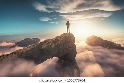 Traveler with a backpack standing on a mountain peak above clouds.  this is a 3d render illustration