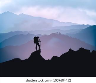 Traveler engaged in trekking in the background of mountains. Sunrise landscape. Raster version