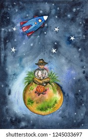 Traveler sits by the fire on a small planet on the background of stellar space and flying rocket. Watercolor illustration.