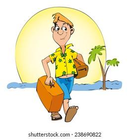 traveler with suitcase on the sunny coast illustration