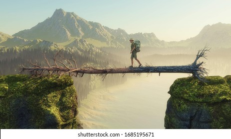 Traveler walking on fallen tree between two mountain rocks . This is a3d render illustration.