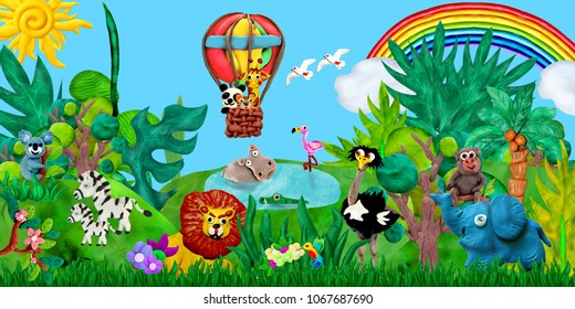 Traveling  by airballoon Zoo animals 3D rendering children banner illustration