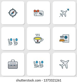 Traveling icons colored line set with voucher, coffee, passport control and other passenger chair elements. Isolated  illustration traveling icons.