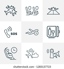 Traveling icons line style set with plane in the cloud, plane crash, minibar and other pathway elements. Isolated  illustration traveling icons.