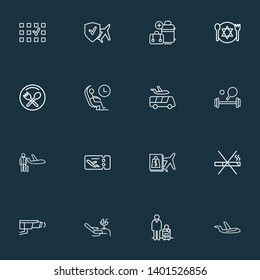 Traveling icons line style set with airport shuttle, video control, man with travel bag and other passenger elements. Isolated  illustration traveling icons.