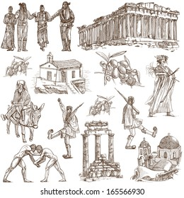 Traveling series: GREECE, part 5 - Collection of an hand drawn illustrations. Description: Full sized hand drawn illustrations drawing on white background.