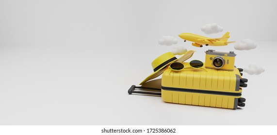 Traveling suitcase with travel accessories on white background. travel concept. 3d rendering.