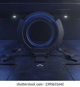 Traveling through the door of the future with the speed of light,3D rendering