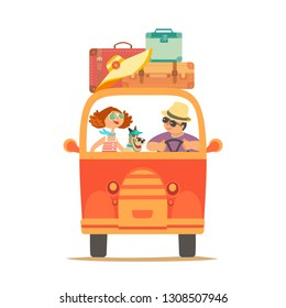 Travelling by car icon. Young happy travellers, dog pet take a trip by minivan. Family couple go on microbus journey. Summer vacation touring by auto. Cute cartoon. Colorful humor quirky illustration