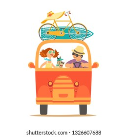 Travelling by car icon. Young happy travellers, dog pet take a trip by minivan. Family couple go on microbus journey. Summer vacation touring by auto. Cute cartoon. Colorful characters illustration