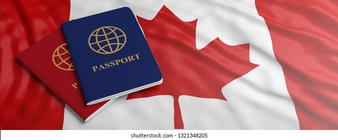Travelling to Canada, immigration or tourism. Two passports on Canadian flag background, banner, copy space. 3d illustration