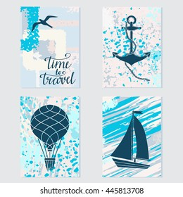 Travels card design set isolated, bird, anchor, hot air balloon, sailboat, calligraphic text, handwriting
