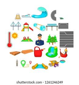 Traversal icons set. Cartoon set of 25 traversal icons for web isolated on white background