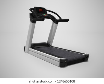 Treadmill for training in the gym 3d render on gray background with shadow