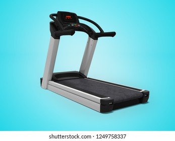 Treadmill for training in the gym 3d render on blue background with shadow